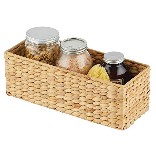 mDesign naturbelassener Flechtkorb aus Wasserhyazinthe – stapelbarer Weidenkorb – ideale Aufbewahrung für das Badezimmer – bambusfarben - 4