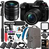 Panasonic DC-G9MK LUMIX G9 Mirrorless 4K Camera with 12-60mm F3.5-5.6 Lens 3X Battery Bundle w/Deco Gear Backpack + Photo Video LED + Microphone + Filter Kit + Monopod + 64GB Software & Accessories
