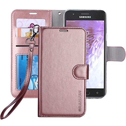 ERAGLOW Galaxy J3 Achieve/J3 V 2018/J3 2018/Amp Prime 3 2018/Express Pime 3/J3 Star/Galaxy Sol 3 Case, Leather Wallet Flip Protective Case Cover with Card Slots and Stand for Samsung J337 (Rose Gold)