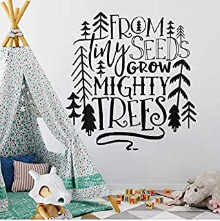 WANGYW Nursery Quote Wall Decal from Tiny Seeds Grow Mighty Trees Wall Sticker Tribal Kids Room Decor Woodland Tree Vinyl Decal 42x44cm