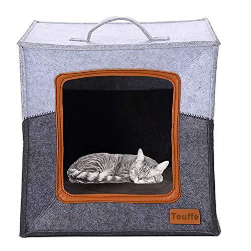 Teuffe Katzenhöhle inkl. Kissen, Passend für z.B. IKEA® Kallax & Expedit Regal, Kuschelhöhle in Grau