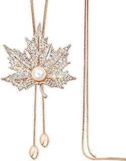 Yellow Chimes Maple Leaf Latest Trend Crystal Long Chain Pendant Necklace for Womena nd Girls