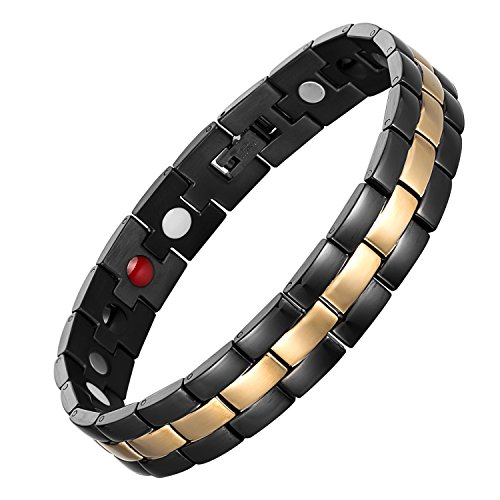 Elegant Men's Titanium Magnetic Therapy Bracelet Pain Relief for Arthritis and Carpal Tunnel 8.5' Adjustable with Free Resize Tool