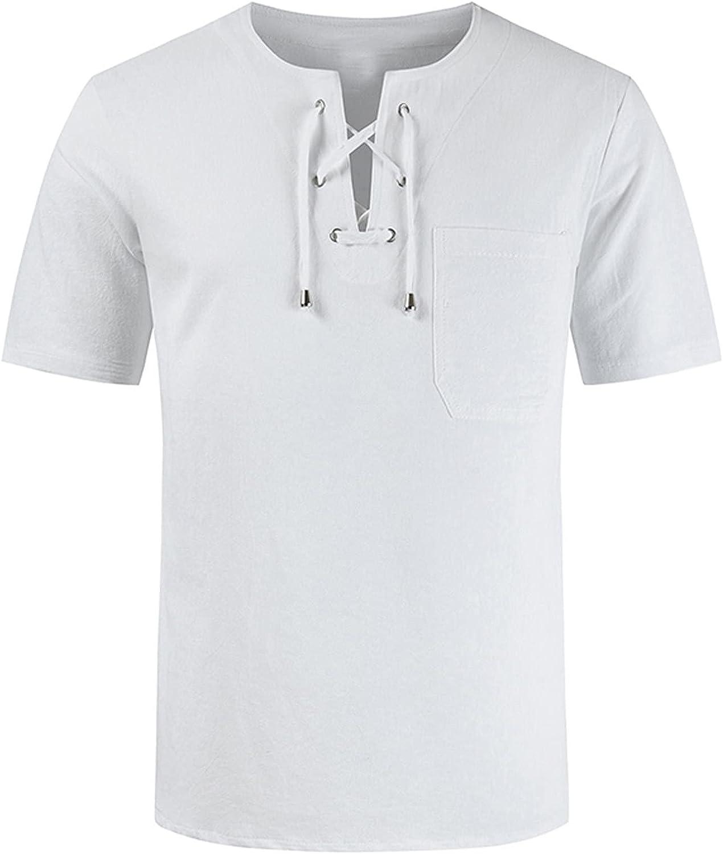 FUNEY Men's Fashion Casual Front Placket Short Sleeve Henley T-Shirts Plain Drawstring Tops V-Neck Cotton Linen Hippie Shirts