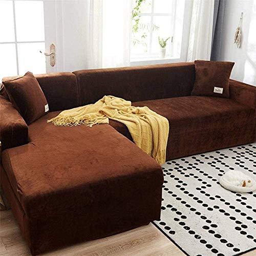 GEBIN Sofabezug, Velvet Plüsch Schonbezug Sofa, Stretch Sofa Überwurf Sofabezug Weich Dick Sofahusse Für L-Form Schnittcouch,1 2 3 4 Sitzer (Braun,L Type 2+3Seater)