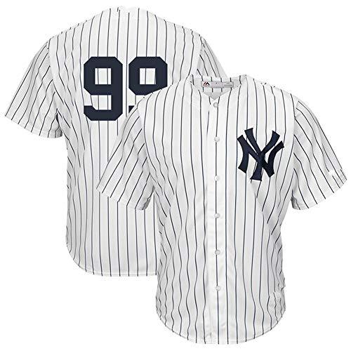 Richter # 99 Yankees, Baseball Uniform Herren Baseball Kurzarm T-Shirt Spiel Team Uniform Button Top Sweatshirt Real Jersey M-3XL-whitestripe-L
