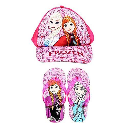 Disney Forzen Mädchen Set, Baseballkappe und Flip Flops (30,5-32 EU) (Pink)