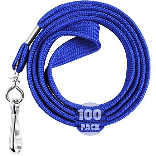 EcoEarth Lanyard Premium Tier (Blue, 36 Inch, 100 Pack), Flat Black Lanyards for ID Badges, Badge Lanyard w Hook, ID Lanyard, Name Tag ID Holder Lanyard, Cruise Lanyard, Bulk Lanyard, Lanyard Pack