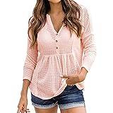 Damen Bluse Hemd V-Ausschnitt Lose Casual Oberteile Langarm T-Shirt Top Schößchen Bluse Tunika Elegant Langarmshirt(Rosa-1,M)