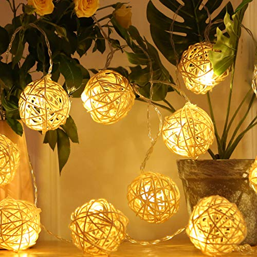 HYAL LUZ Battery Operated LED String Lights 16.4ft 20 Globe Rattan Balls Christmas Decoration Light Indoor Fairy String Lights Decorative for Bedroom Patio Party Decor(Warm White)