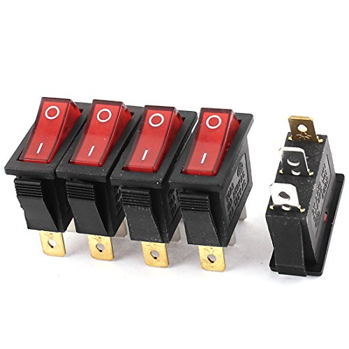 Aexit 5 Pcs Shaft Collars AC 15A/250V 16A/125V SPDT ON/Off 2 Position Boat Heat Shrinkable Shaft Collars Rocker Switch