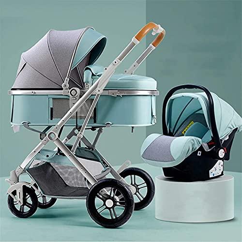 YZPTD Cochecito de bebé de Alto Paisaje, Carro de bebé Amortiguador, Cochecito Plegable, Cochecito de 2 in1 con Canasta, Cochecito de bebé con Ruedas de Goma y reposabrazos extraíbles