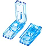 Pill Cutter Splitter for Small and Large Pills in Half or Quarter, Easily Cleanly Tablet Cutter with Sturdy Blade for Vitamins, Pills, Medicines(2 Pack, Blue)