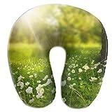 Ahdyr Almohada de Viaje en Forma de U Spring Green Wildflowe