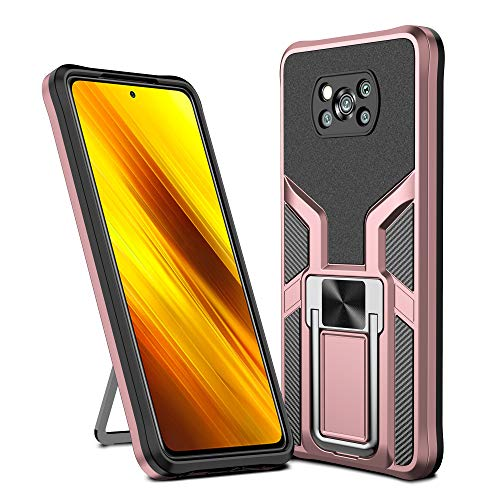 Asuwish Compatible with Xiaomi Poco X3/PocoX3 NFC Case Tempered Glass Screen Protector Stand Ring Holder Kickstand Cell Phone Cases for Xiami Xiomis Xiome Mi PocoX3NFC Pocco X 3 3X Women Men Rose Gold