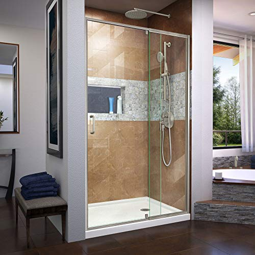 DreamLine Flex 38-42 in. W x 72 in. H Semi-Frameless Pivot Shower Door in Brushed Nickel, SHDR-2242720-04