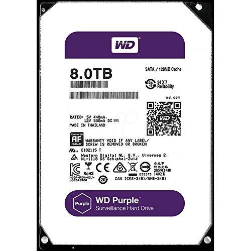 WD Purple 8 TB Festplatte zur Videoüberwachung - Intellipower SATA 6 Gb/s 128MB Cache 3,5 Zoll - WD80PUZX