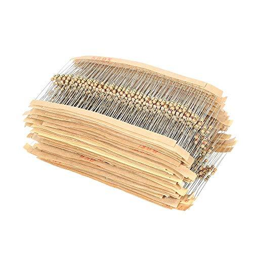 ARCELI 1500 pezzi 75 Valori 1 Ohm a 10 M Ohm 1/4 W 5% Resistori a film di carbonio Assortimento Kit Componenti elettronici