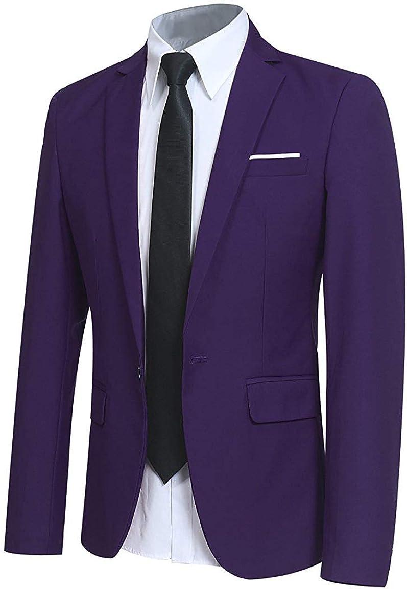 Michealboy Mens Slim Fit Solid Color Blazer Jacket Casual One Button Suit Coat