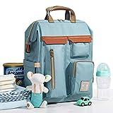 Sunveno Baby-Reiserucksack, multifunktional, Wickelrucksack, wasserdicht und modisch, für Mütter, großes Fassungsvermögen, 12 Taschen mit USB-Anschluss, Blau