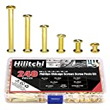Hilitchi 120-Sets M5 x 5/10 / 15/25 / 35/45 Brass Plated Phillips Chicago Screw Posts Binding Screws Assortment Kit for Scrapbook Photo Albums Binding, Leather Repair - Gold