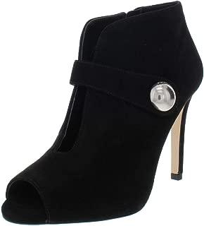 Michael Kors Womens Agnes Leather Peep Toe Ankle Fashion Boots, Black, Size 7.5