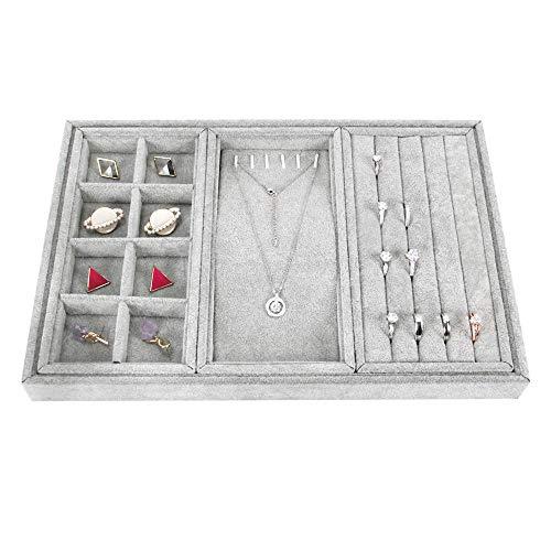 Bandeja de terciopelo GossipBoy de gran capacidad para cajón, armario, escritorio, pendientes, anillos, organizador de collares, 3 compartimentos