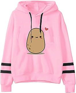 Women Hoodies Pullover Coat, Ladies Cute Cartoon Printed Long Sleeve Sweatshirt T-shirt Tops