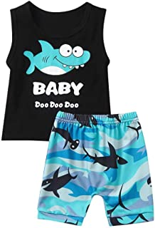 🌸Hot!!Baby Boys Outfits MS-SM Infant Kids Cartoon Shark Letter Printed Vest Sleeveless O-neck Tops+Shorts Clothes Set 2Pcs for 6M-4Y