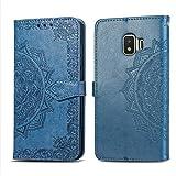 Bear Village Hülle für Galaxy J2 Core, PU Lederhülle Handyhülle für Samsung Galaxy J2 Core, Brieftasche Kratzfestes Magnet Handytasche mit Kartenfach, Blau