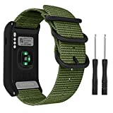 MoKo Watch Band Compatible with Garmin Vivoactive HR, Fine Woven Nylon Adjustable Replacement Strap with Metal Buckle for Garmin Vivoactive HR Sports GPS Smart Watch - Army Green