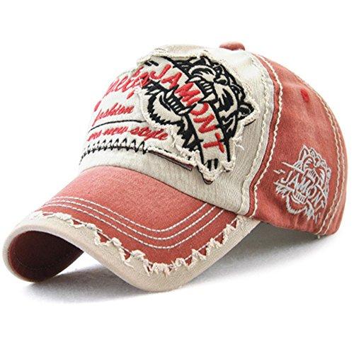 Tioamy Baseball Kappe Basecap Unisex einstellbare Retro Baseball Hut Freizeit Cap modischste Cotton Cap Schreiben Outdoor Hut für Männer und Frauen, Einheitsgröße, Rotwein
