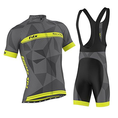 FDX - Pantaloncini da ciclismo classici da uomo, con imbottitura in gel e bretelle per ciclismo, taglia M, colore: Giallo