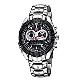 WEIHONG Watch TVG Round Dial Glass Watch Window Luminous & Alarm & Week Display Function Quartz + Digital Double Movement Men Watch with Alloy Band(Black) (Color : Black)