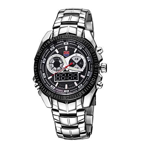 WBV AYSMG TVG Reloj de cristal con dial redondo Ventana luminosa, alarma y visualización de la semana Función de cuarzo + Reloj digital con doble movimiento for hombres con banda de aleación (Negro)