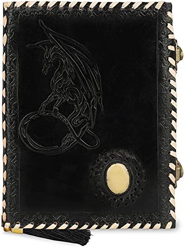 Cuaderno de cuero A6 Dragón de la Luna en relieve con piedras preciosas Diario de viaje hecho a mano con papel sin forro para escribir y dibujar Regalo para hombres y mujeres - Nergo