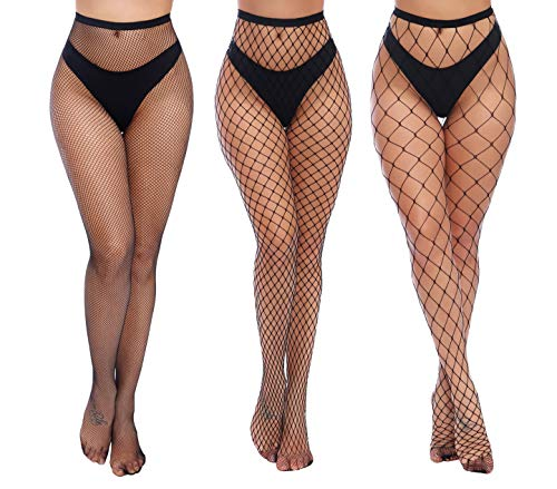 Charmnight Womens High Waist Tights Fishnet Stockings Thigh High Pantyhose 3 Pair(1)