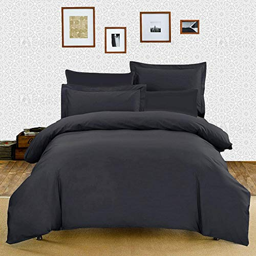 Ashton Polly-cotton Plain Dyed Duvet Cover with Matching Pillowcases Dark Grey - Single, Double, King, Super King (Grey, Super King)