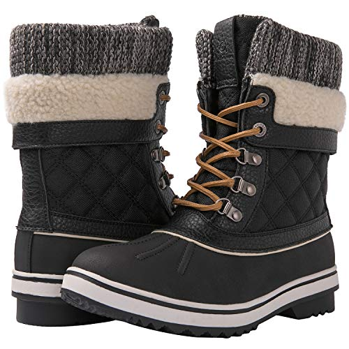 GLOBALWIN Women's Black Winter Snow Boots 9M