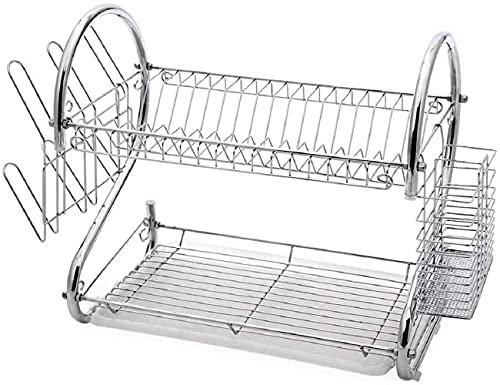 Escurreplatos de acero inoxidable para fregadero, escurridor de platos, soporte para cocina, cesta de goteo Dish Drier, secado (acero al carbono, 24 x 53 x 40)