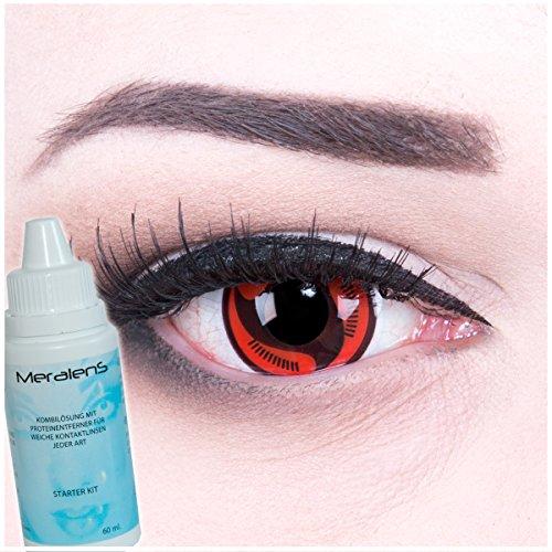Meralens A0470 Itachi's Manga Kontaktlinsen mit Pflegemittel mit Behälter ohne Stärke, 1er Pack (1 x 2 Stück)