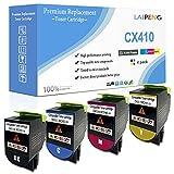 Cartuchos de Tóner Compatibles en 4 Colores CX410 CX510 Alta Capacidad 4000 Páginas BK, 3000 Páginas CMY para Impresoras Lexmark CX410de CX510de CX410dte CX410e CX510dthe CX510dhe