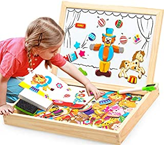 learning board magnetic wooden board for kids drawing board with puzzle Educational Jigsaw Puzzles Toy Easel Kid wooden toy