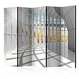 decomonkey Paravent Raumteiler XXL Einseitig Modern 225x172 cm 5 TLG. Trennwand Vlies Leinwand Raumtrenner Sichtschutz spanische Wand Blickdicht Textile Haptik Strand Meer Tunnel