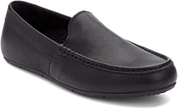 Vionic Men's Borough Tompkin Slippers - Moccasin Slipper with Concealed Orthotic Arch Support