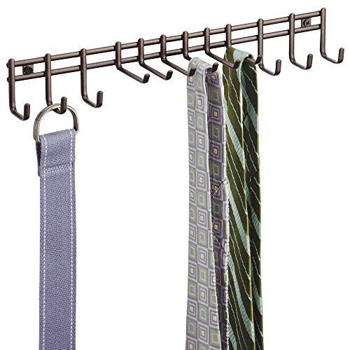mDesign Porta cravatte e portacinture con ganci – Portacravatte a muro in metallo – Ideale per cravatte, cinture, foulard, collane e indumenti – bronzo