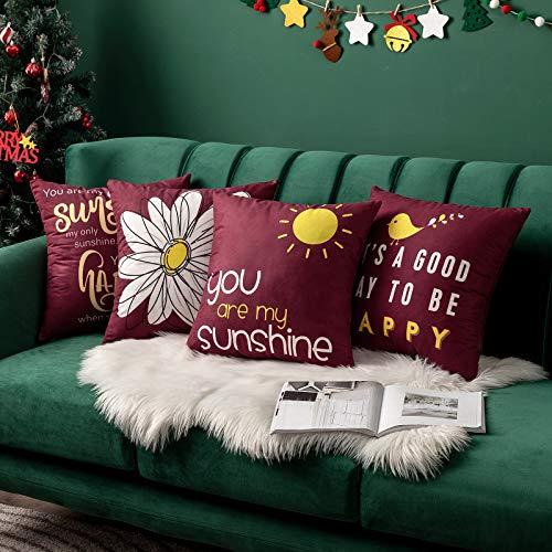 MIULEE - Juego de 4 fundas de almohada decorativas para casas de granja de algodón y lino con frase de palabras para cojín, sofá, cama, sofá, banco, pájaro y flor, Burgundy, 20'x20', 4