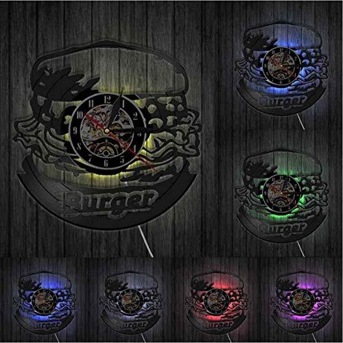 hxjie Reloj de Pared con Registro LP de Vinilo de Cocina de Hamburguesa, Reloj de diseño Moderno de Hamburguesa para niños, iluminación de Comida rápida, luz Nocturna