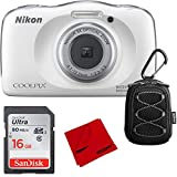Nikon COOLPIX W150 13.2MP Waterproof Point & Shoot Digital Camera (White) 16GB Bundle