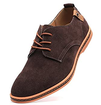 DADAWEN Men's Classic Suede Leather Oxford Dress Shoes Business Casual Shoes Brown US Size 10.5